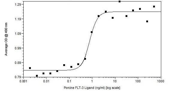 Functional Studies - Recombinant pig Flt3 ligand/Flt3L protein (ab233680)