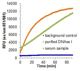 Representative activity curve for purified DNAse I (orange), serum sample (green), and background control (blue) at 37°C.