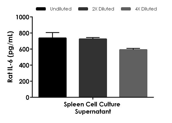 Interpolated concentrations of native IL-6 in Rat spleen cell culture supernatant sample