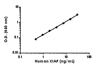 Example of human XIAP standard curve in 1X Cell Extraction Buffer PTR.