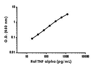 Example of rat TNF alpha standard curve in Sample Diluent NS.