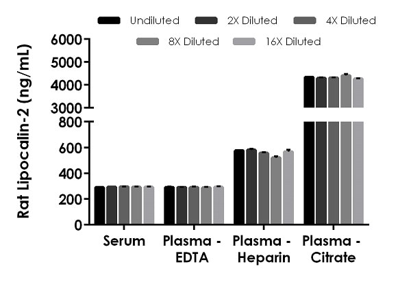 Interpolated concentrations of native Lipocalin-2 in rat serum and plasma samples.