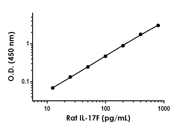 Example of rat IL-17F standard curve in Sample Diluent 50BP.
