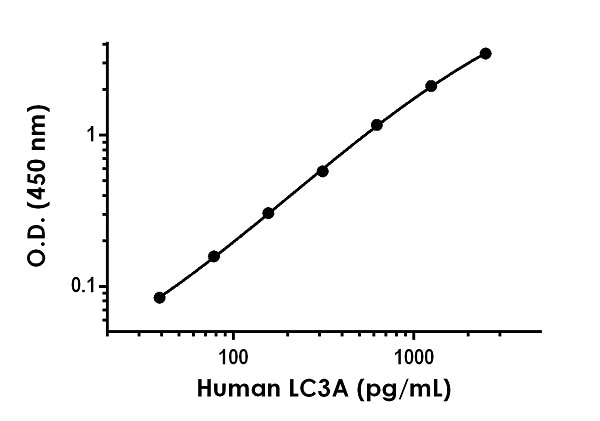 Example of human LC3A standard curve in 1X Cell Extraction Buffer PTR.