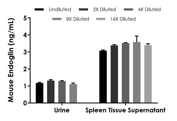 Interpolated concentrations of native Endoglin in mouse urine and spleen tissue supernatant (2 days) samples.