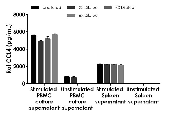 Interpolated concentrations of CCL4 in rat  stimulated PBMC and spleen samples.