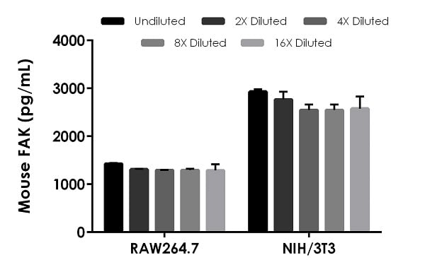 Interpolated concentrations of native FAK in RAW264.7 and NIH/3T3 cell extracts based on a 100 µg/mL extract load.