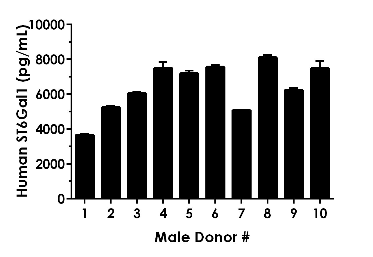 5% Serum from ten individual healthy human male donors was measured in duplicate.