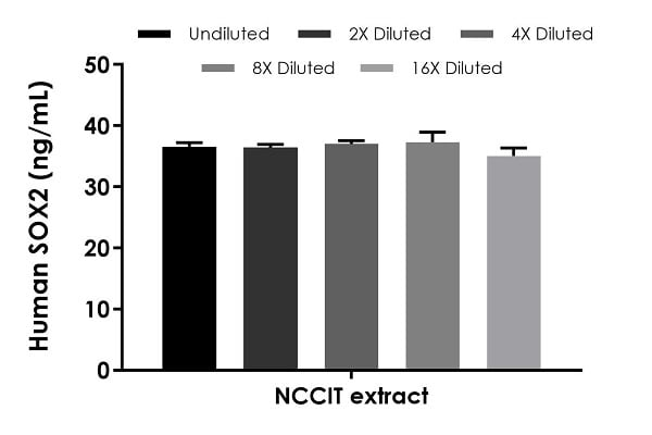 Interpolated concentrations of native SOX2 in human NCCIT cell extracts based on a 50 µg/mL extract load.