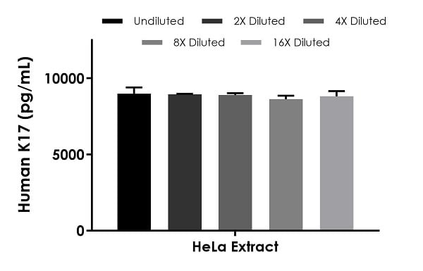 Interpolated concentrations of native K17 in human HeLa cell extract samples based on a 40 µg/mL extract load.