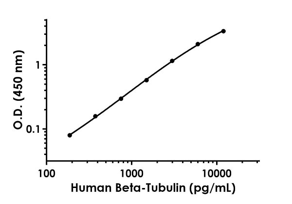 Example of human Beta-Tubulin standard curve in 1X Cell Extraction Buffer PTR.
