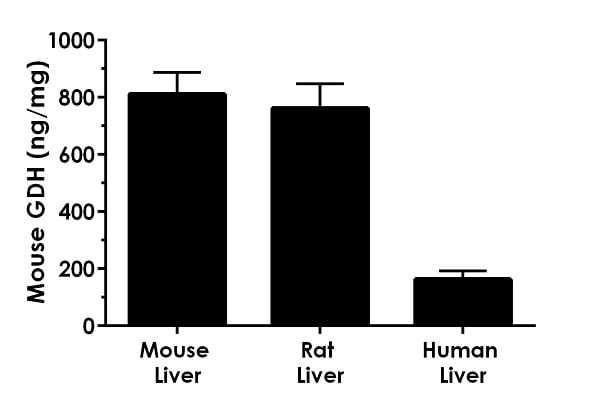 Other species reactivity was determined by measuring liver tissue extract samples of various species.