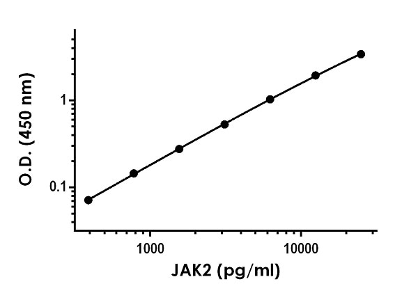 Example of  JAK2 standard curve in 1X Cell Extraction Buffer PTR.
