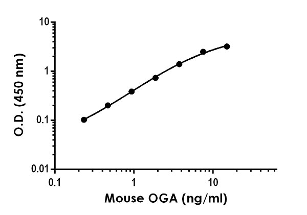 Example of mouse OGA standard curve in 1X Cell Extraction Buffer PTR.
