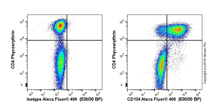Flow Cytometry - Alexa Fluor® 488 Anti-CD134 / OX40L receptor antibody [OX40] (ab256422)