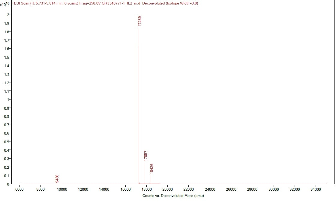 Mass Spectrometry - Recombinant mouse IL-2 protein (Active) (ab259380)