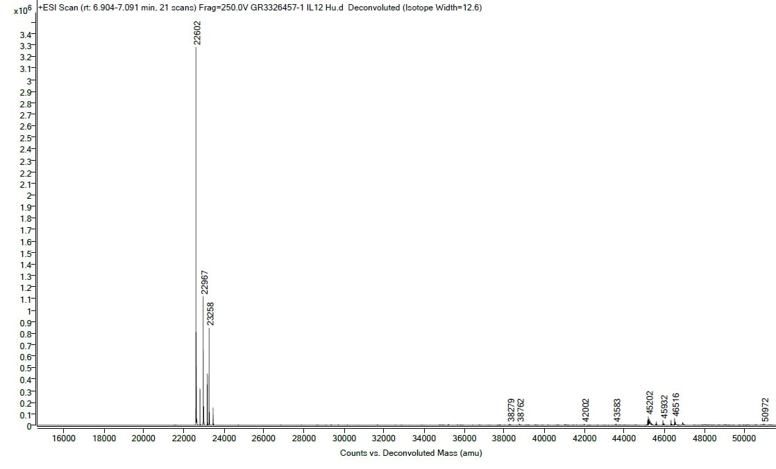 Mass Spectrometry - Recombinant Human IL-12 protein (ab259418)
