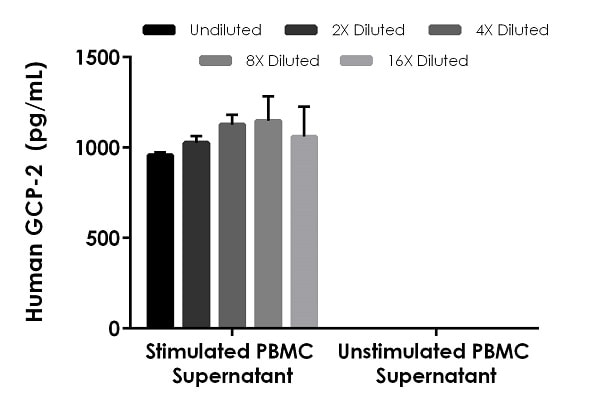 Interpolated concentrations of native GCP-2 in human PBMC cell culture supernatants derived from cells seeded at 107 cells/mL and cultured in the presence or absence of 1.5% PHA for 36 hours.