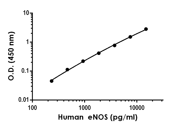 Example of human eNOS standard curve in 1X Cell Extraction Buffer PTR.