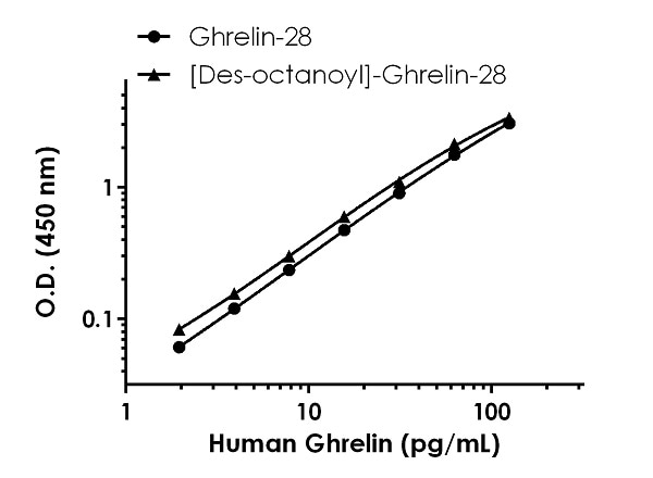 Reactivity comparison of Ghrelin-28 (acylated peptide) and [Des-octanoyl]-Ghrelin-28.