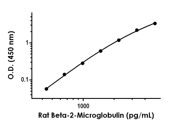 Example of rat Beta-2-Microglobulin standard curve in Sample Diluent NS + Enhancer.
