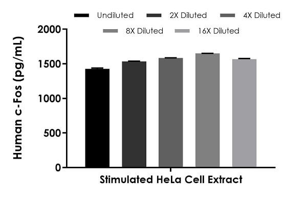 Interpolated concentrations of native c-Fos in stimulated HeLa cell extract samples based on a 200 µg/mL extract load.
