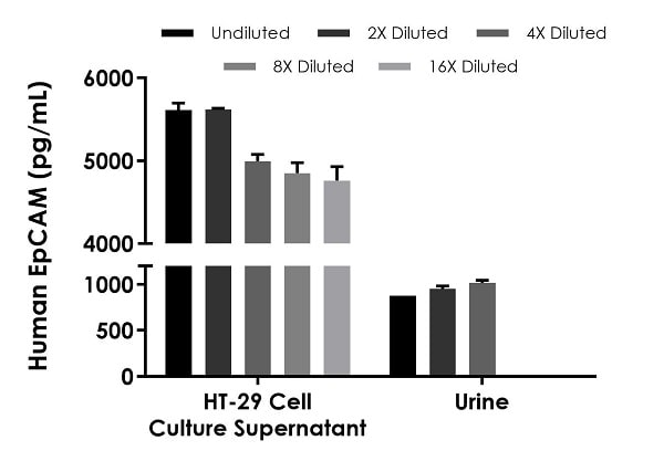 Interpolated concentrations of native EpCAM in human HT-29 cell culture supernatant and urine samples.