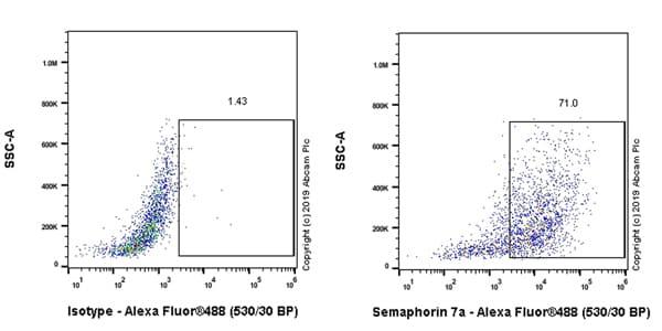 Flow Cytometry - Anti-Semaphorin 7a antibody [EPR22644-316] - BSA and Azide free (ab267399)