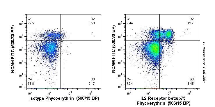 Flow Cytometry - Anti-IL2 Receptor beta/p75 antibody [EPR22892-2] (PE) (ab267556)