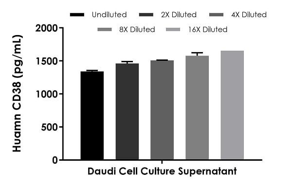 Interpolated concentrations of native  CD38 in human Daudi cell culture supernatant sample.