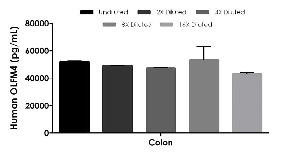 Interpolated concentrations of native OLFM4 in human colon tissue extract based on a 400 µg/mL extract load.
