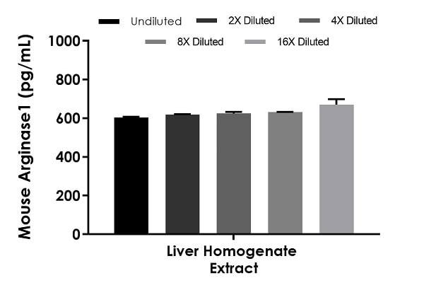 Interpolated concentrations of native Arginase1 in mouse liver homogenate extract samples based on a 0.25 µg/mL extract load.