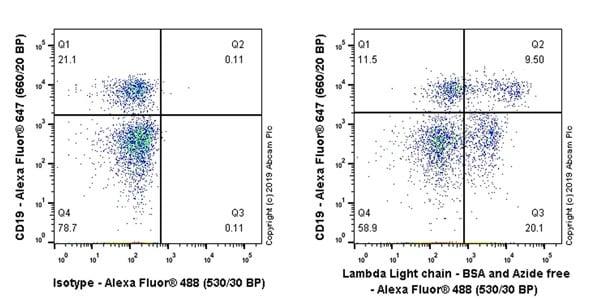 Flow Cytometry - Anti-Lambda Light chain antibody [1-155-2] - BSA and Azide free (ab270744)