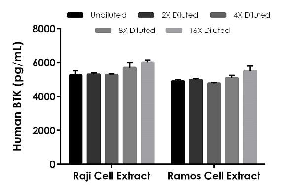 Interpolated concentrations of native BTK in human 50 ?g/mL Raji and 100 ?g/mL Ramos cell extract load.